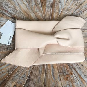 NWT JustFab Light Blush Bow Faux Leather Wristlet